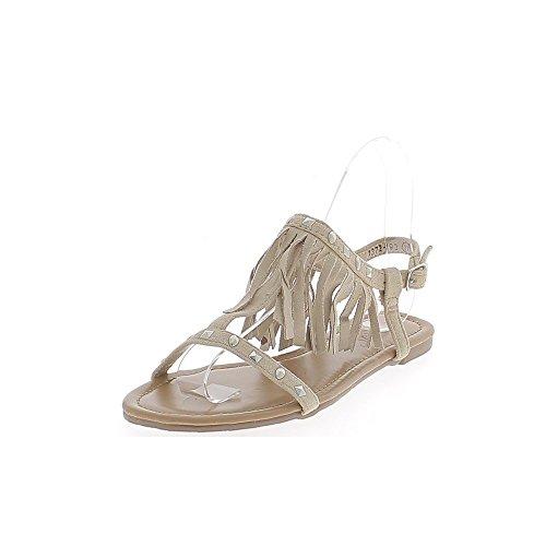 Sandales spartiates beiges aspect daim avec fines brides frange et clous