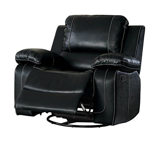 Homelegance Oriole Swivel Reclining Chair Air Hyde Breathable Faux Leather, Black