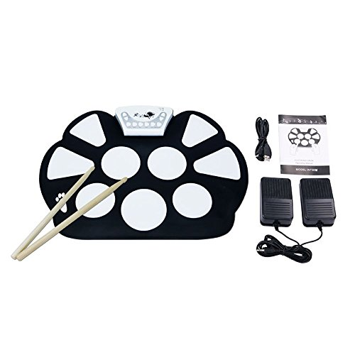 VTOP Electronic Drum Kit Set Drum Practice Pads with Drum Sticks - Roll Up...