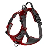 My Busy Dog Harness Vest | No Pull, Easy On/Off, Front/Back Metal Leash Attachments, Handle, Reflective, Secure Fit | Perfect for Small Medium Large Dogs | Size Chart in Pictures (Small, Red)