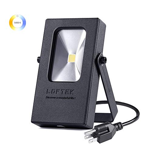 LOFTEK 10W LED Outdoor Plug in Light, 800 Lumens, Plug in Daylight White 5000K Uplight, IP65 Waterproof Outdoor Security Spotlight,Black