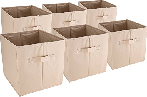 Collapsible Fabric Storage Baskets - Set of 6 , Beige Colour - Utopia Home (Bedroom Storage Baskets compare prices)