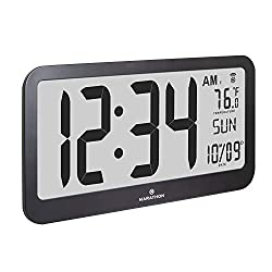 Marathon CL030033JUMBO Slim Jumbo Panoramic Atomic Wall Clock with Date and Indoor Temperature. Commercial Grade with Big 6-Inch Numbers, Alarm and Table Stand. Batteries Included (Black)