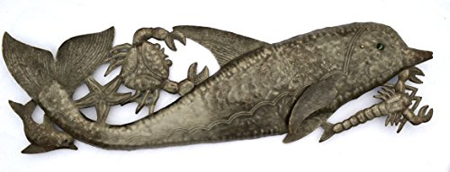 Dolphin Sealife Wall Art, Beach, Ocean, Sculpture, Recycled Steel Barrel, Haiti, Metal, 33″ x 10″ Review