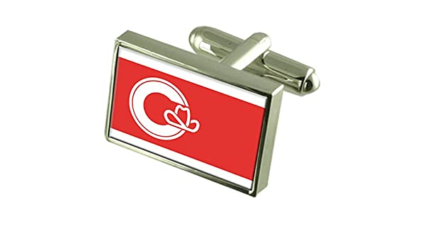 Calgary City Canada Gold-tone Flag Cufflinks Engraved Box