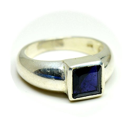 Iolite Ring (Jewelryonclick Genuine Natural Square Shape Iolite Sterling Silver Ring For Men Size US 4 to 12)
