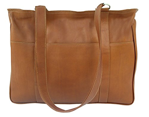 Piel Leather Small Shopping Bag in Saddle