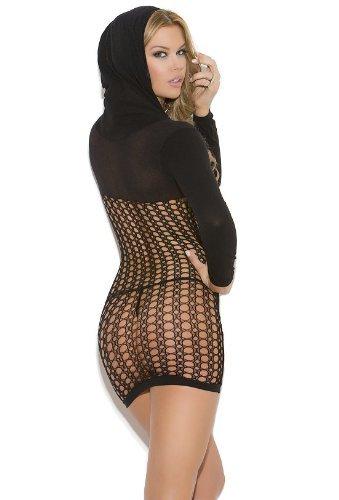 Vivace Women's Black Sheer Hooded Mini Dress