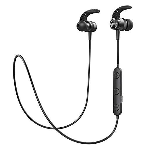 Mpow Bluetooth Headphones, Magnetic Lightweight Wireless Earbuds w/Mic, IPX7 Waterproof Hi-Fidelity Audio Sports Wireless Running Headphones, 8 Hrs Playtime Wireless Headphones, Black