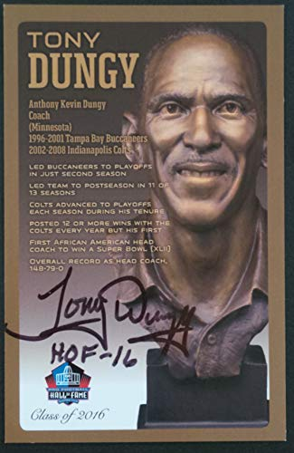 (PRO FOOTBALL HALL OF FAME Tony Dungy NFL Bronze Bust Set Card Signed Autograph (Limited Edition #119 of 150))