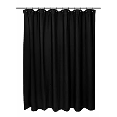 Hotel Quality Waffle Weave 100% Cotton Shower Curtain - 72  Wide x 72  Long - Black