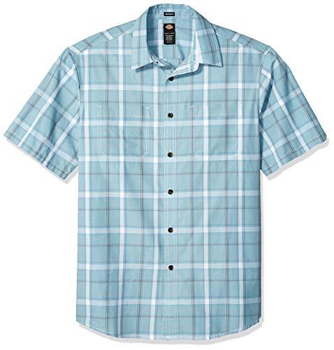 Dickies Men's Yarn Dyed Plaid Short Sleeve Shirt Big-Tall, Rinsed Dockside Blue, 3X