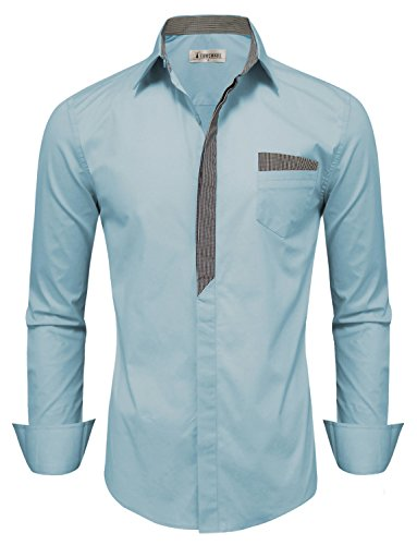 Tom's Ware Mens Premium Casual Inner Layered Dress Shirt TWNMS310S-CMS05-SKYBLUE-US XXL