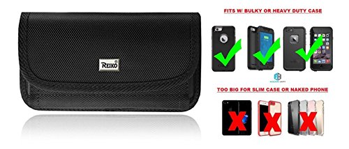 AccessoryHappy Horizontal Cell Phone Case, Rugged Pouch Holster Nylon Metal Belt Clip Fits [iPhone 8 Plus 7 Plus 6S/6 Plus (5.5)] Lifeproof Waterproof/Otterbox Defender/Heavy Duty (Leather Carring Case)