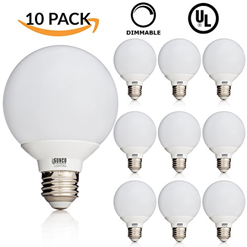 Long Life Standard Screw Base (10 PACK - UL & ENERGY STAR LISTED - 6W Dimmable G25 LED Bulb, 40W Equivalent Vanity Light Bulb, Daylight 5000K, Medium E26 Screw Base Omnidirectional Globe Bulb)