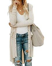 KISSMODA Ladies Front öffnen Lange Strickjacken mit Knöpfen und Taschen für Damen