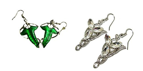 [The Hobbit Movie Elven Leaf and The Elves Princess Crystal Dangle Earrings w/Gift Box] (Hobbit Costume Ideas)
