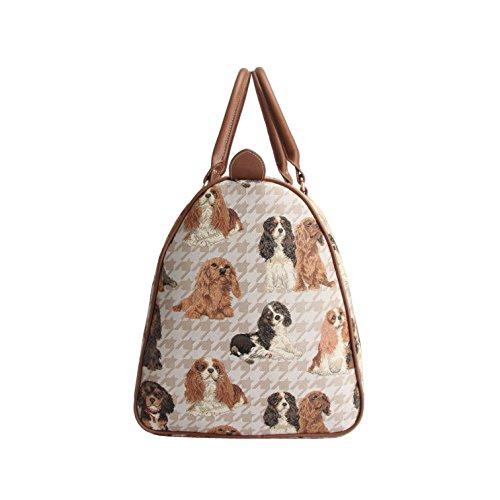 Signare da donna tela grande borsone Weekender valigia con pattern di King Charles Spaniel