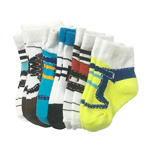6 Pairs 0-10 month Baby Newborn Ankle Sock Toddler Crew Walkers Bootie Infant Socks (Mixed style 2) by Fly-Love (Image #7)