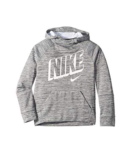 (Nike Boy's Therma Graphic Training Pullover Hoodie Dark Grey/Pure/White Size Large)