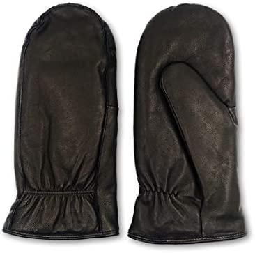 Harssidanzar mens Lambskin Leather Outdoor Mittens Gloves Thermolite Lined GM033