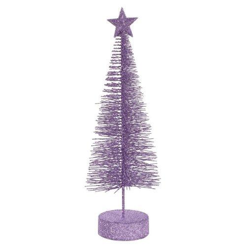Vickerman Lavender Purple Glitter Sisal Artificial Table Top Christmas Trees, 2 Pack, 12
