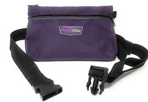 "Tool Bag for Women :: Multi Tool Organizer Adjustable Belt :: Durable Polyester with 2 Zippered Pockets for Hand Tools, Craft Supplies, Travel Items and More, Approx. 10"" x 7"", Purple by HandiChic"