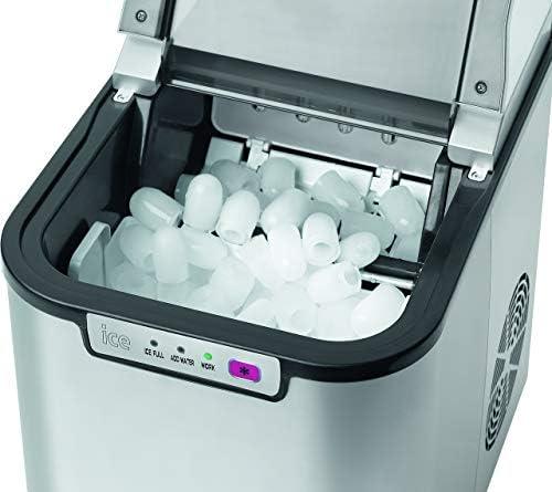 Bomann EWB 1027 CB ijsblokjesmaker voor ca. 10-15 kg ijsblokjes in 24 uur, led-indicator en geluidssignaal bij volle ijsblokjeshouder en leeg waterreservoir, 3 controlelampjes.