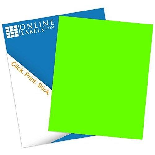 Fluorescent Green Sticker Paper - 100 Sheets - 8.5