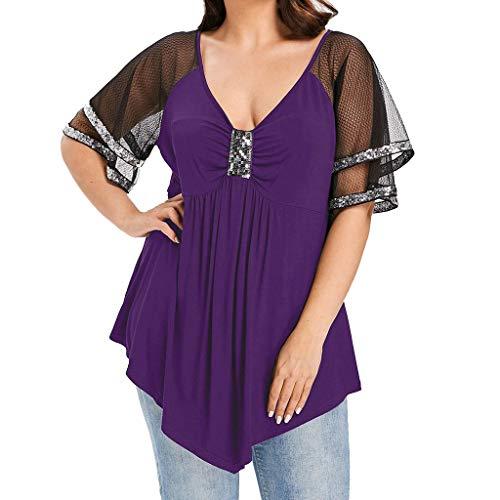 - Wadonerful-women Blouse Fashion Ladies Plus Size Flash Mesh V-Neck Shiny Sequin T-Shirt Short O-Neck Solid Bandage Purple