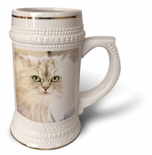 3dRose Painting of Persian Cat - Image of Painting Of Persian Cat - 22oz Stein Mug (stn_255365_1) (Pictures Cats Persian)