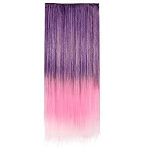 Ecvtop 24 Inch 60cm Straight 3/4 Full Head Synthetic Hair Extensions Clip On/in Hairpieces 5 Clips (Purple to pink)