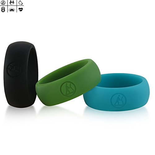 Siliringz Silicone Wedding Ring for Men, Health&Fitness Series Silicone Rings, 3 Rings Pack (12, Black, Avocado, Beryl) (Mens 12 Series)