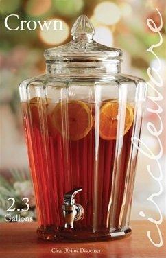 Circleware 68154 Elegant Sun Tea Jar Beverage Dispenser and Glass Lid Home & Kitchen Glassware Water Pitcher for Juice, Beer, Kombucha & Cold Drinks, Huge 2.3 Gallon, Crown