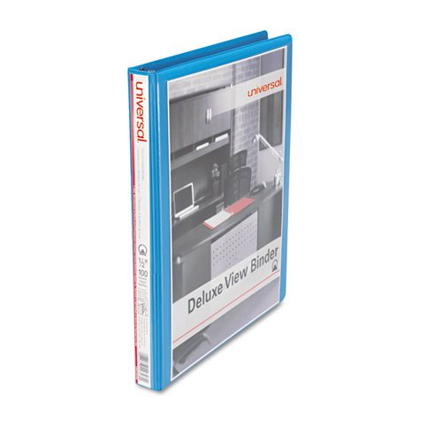 Universal Deluxe Round Ring View Binder, 1/2 Capacity, Light Blue (20703)