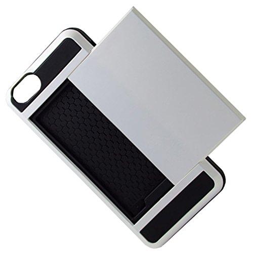 Telefon-Kasten - TOOGOO(R)Karte Tasche Stossfeste Duenne Hybrid Mappe Abdeckung fuer iPhone 6/ 6S Weiss