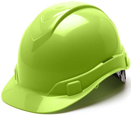 Pyramex Ridgeline Cap Style Hard Hat, 6 Point Ratchet Suspension, Hi Vis Lime by Pyramex Safety