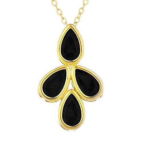 3 Ct Genuine Black Onyx Teardrop Pear Bezel Pendant Necklace 14Kt Yellow Gold Rose Gold Silver