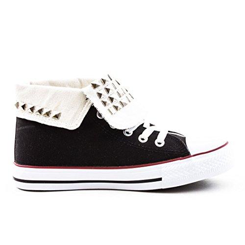 Damen High Top Turnschuhe Sneaker Textil Canvas Schuhe Schwarz Nieten