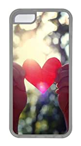 Love light shining TPU Hard Plastic Case for iPhone 5C - Transparent