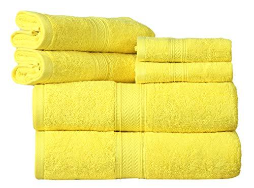 HILLFAIR Premium 600 GSM 6 Piece Towel Set- 2 Bath Towels, 2 Hand Towels & 2 Washcloth – Yellow Cotton Bath Towel -Machine Washable, Hotel Quality Towels,Super Soft & Highly Absorbent Cotton Towels