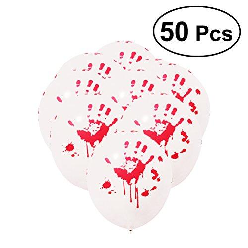 Amosfun 50pcs Round Halloween Balloon Blood Handprint Emulsion