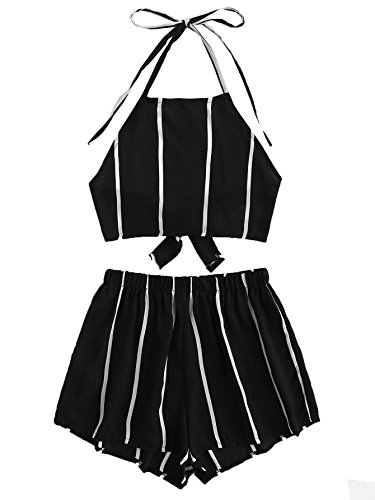 SweatyRocks Women's Striped 2 Piece Outfits Halter Crop Cami Top and Shorts Set Black L -