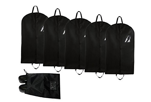 Bags for Less Professional Garment Bags (5-Pack) – Travel Organization and Protection for Clothes, Dresses, Jackets, Suits, Pants – Easy Carry Handle, Gusset & Clear ID Pocket – Bonus Shoe Bag by Bags for Less