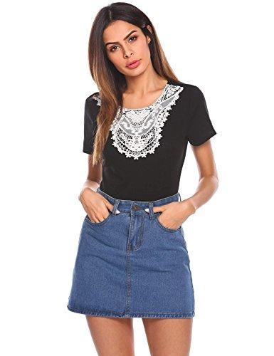 Grabsa Women's Floral Lace Crochet Scoop Neck T-Shirt Top With Key Hole Back Black (Floral Keyhole Back Top)