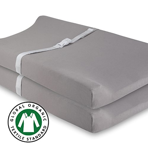 Cotton Cover Certified Organic (Organic Changing Pad Cover Set, Cradle Sheet 2 Pack 100% Gots Certified Organic Jersey Cotton Solid Grey, by Ely's & Co)