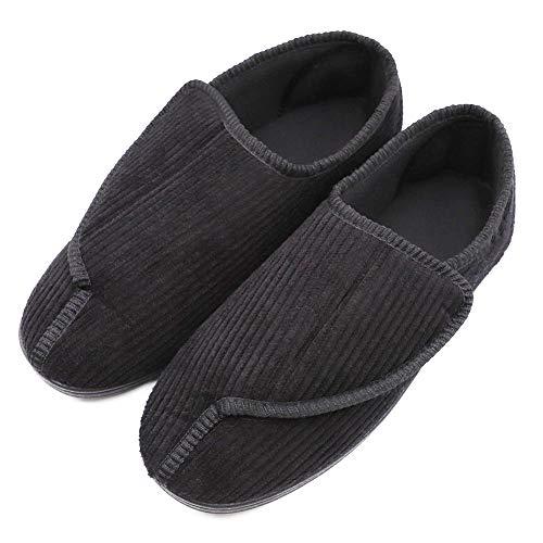 Men's Memory Foam House Shoes Comfy Cozy Diabetic Slippers Warm Plush Adjustable Arthritis Edema Swollen Shoes Black (Extra Extra Wide Shoes For Swollen Feet)