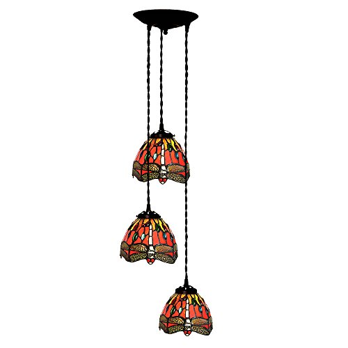Bieye L10085 Tiffany Style Stained Glass 7-inch Dragonfly Hanging Lamp with 3-Light Pendant (Red) Stained Glass Three Light