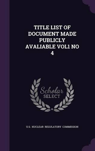 Title List of Document Made Publicly Avaliable Vol1 No 4 pdf