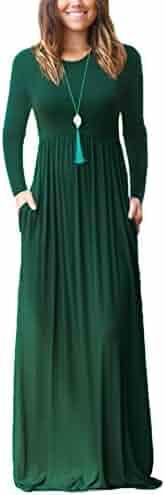 DEARCASE Women Long Sleeve Loose Plain Maxi Dresses Casual Long Dresses With Pockets